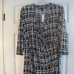 PECK & PECK BLACK AND WHITE FAUX WRAP DRESS XL